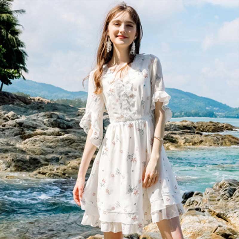 Jolie Robe en mousseline à imprimé fleur Robe d'été à manches évasées Longue Robe Longue Vestido Largo Vestiti Lunga