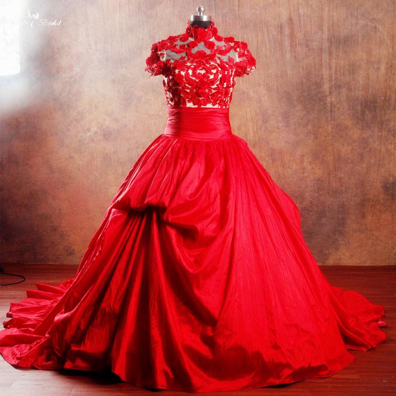 RSW960 Vintage Short Sleeve High Neckline Wedding Dresses