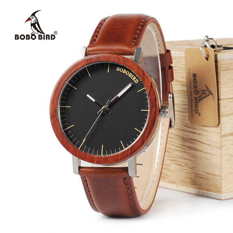 BOBO BIRD WM15 Rose Wooden Watch for Men Cool Metal Case Soft Real Leather Strap Quartz Watches Luxury Unisex Gift bobo bird wh29 mens zebra wood watch real leather band cool visible quartz wooden watches for men with gift box dropshipping