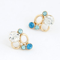 2015 Hot sale jewelry Crystal Bubble Earrings blue and pink color for girl