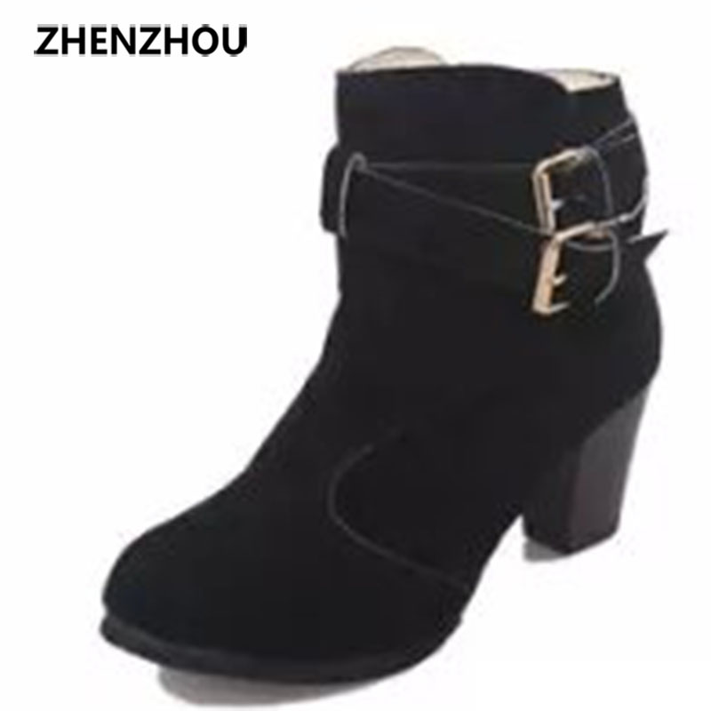 zhenzhou 2017 autumn and winter The new Europe and the United States Circular head Belt buckle Stylish women's boots europe and the united states new handsome british wind pointed thick boots snake belt buckle especially exquisite single boot