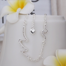 Wholesale Free Shipping silver plated Anklets,silver plated Fashion Jewelry Waves Anklets SMTA028