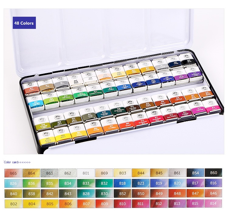 MUNGYO Professional Watercolor Paints MWPH Series 12/24/48 Colors Pigment Pan Type Iron Packing  Art Drawing Paint