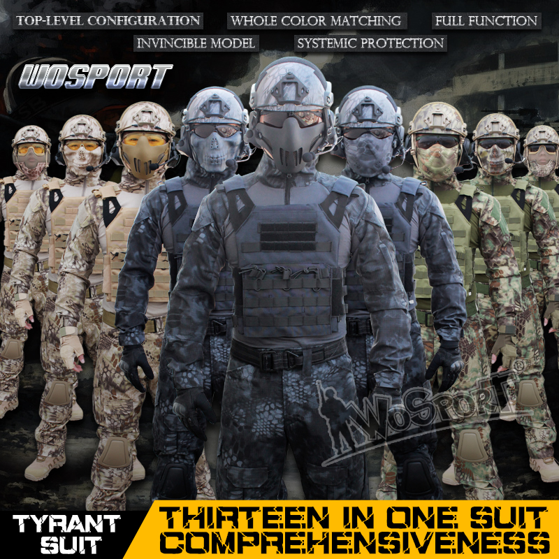 WoSporT CS ensemble tactique 13-en-1 Ghillie costumes tactiques avec casque masque casque lunettes ceinture gilet jambe sac fonction fronde
