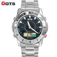 OTS Men Navigation Advanture Sport Series Digital Drive Analog Dual Time Alarm Stopwatch Backlight Stainless Steel
