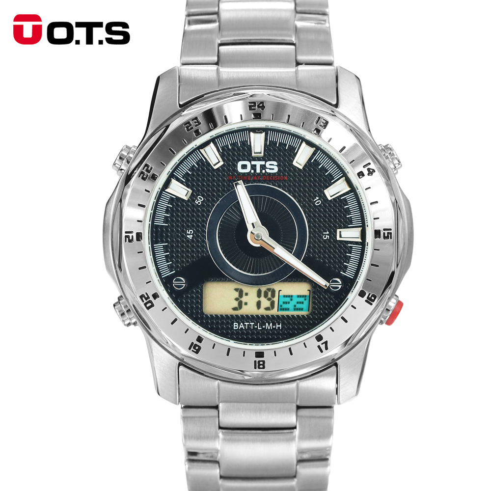 OTS Men Navigation Advanture Sport Series Digital Drive Analog Dual time Alarm Stopwatch Backlight Stainless Steel