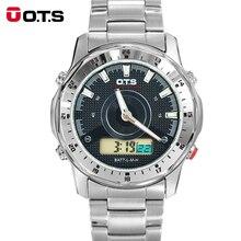 OTS Hombres Navegación Advanture Sport Series Unidad Digital Analógico Doble de tiempo de Alarma Cronómetro Luz de Fondo Reloj de Acero Inoxidable OTS9106