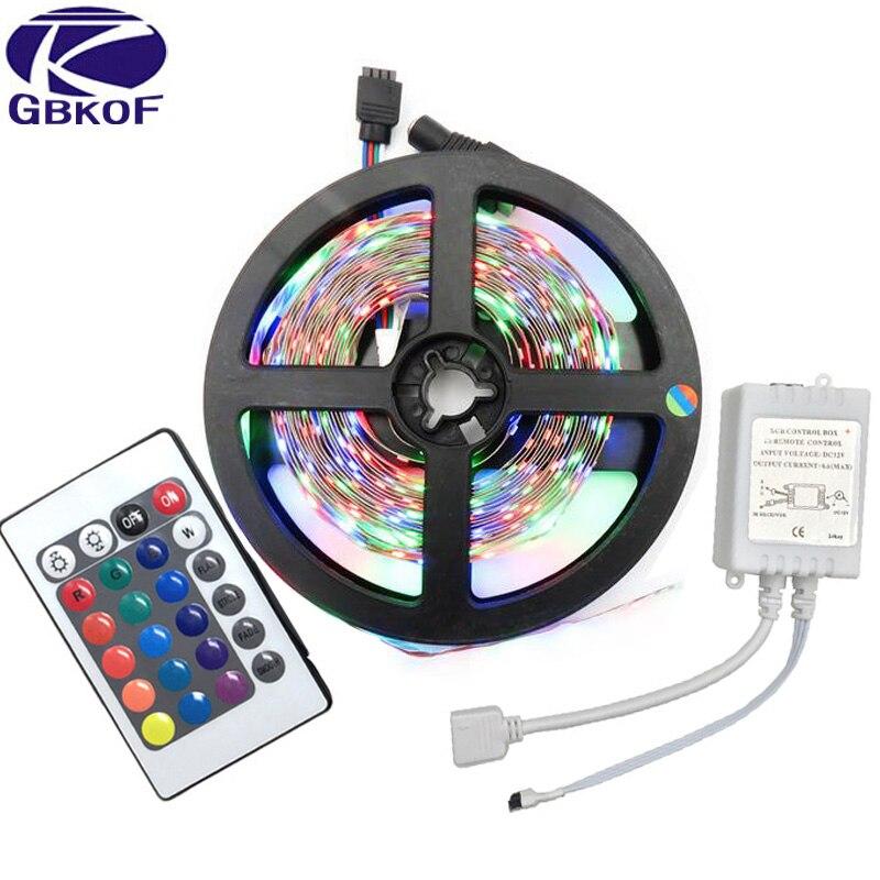 GBKOF 5 M RGB LED Bande 3528 SMD 60 Leds/M Non Étanche Bande lumière Avec 24 Touches IR Contrôleur Diode LED Lights Bande String Ribbon
