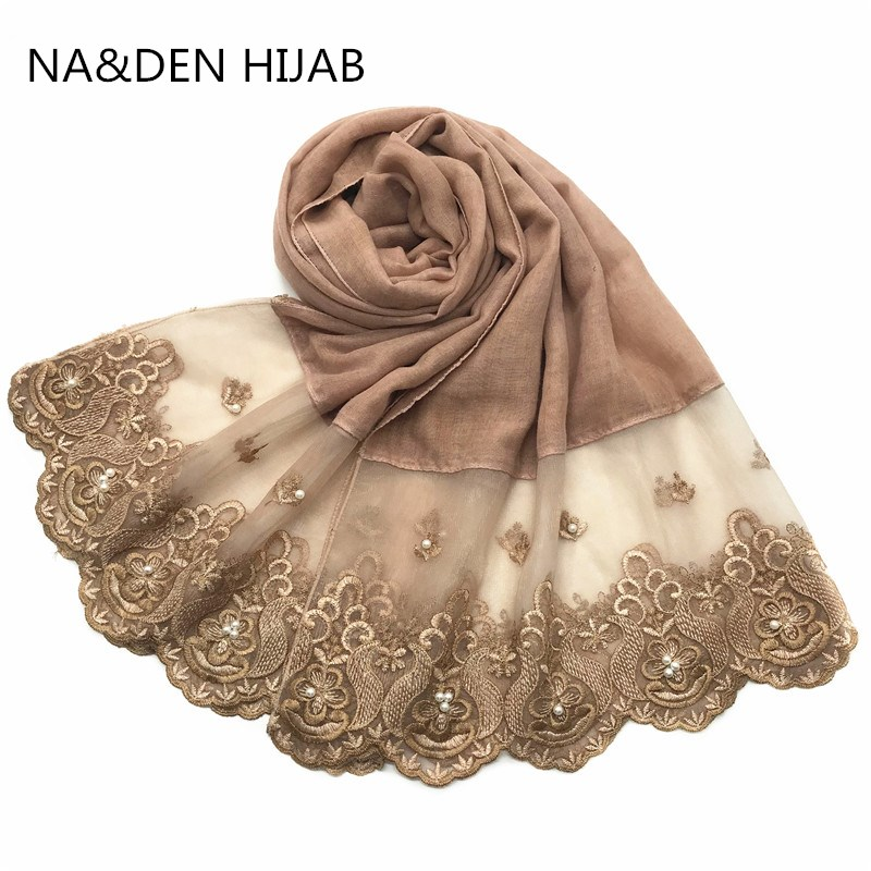 1PC NEW Women Scarves Fashion Shawl Lace Sides With Pearls Viscose Solid Plain Scarf Muslim Head Scarf/Hijab 10pcs Fast Shipping