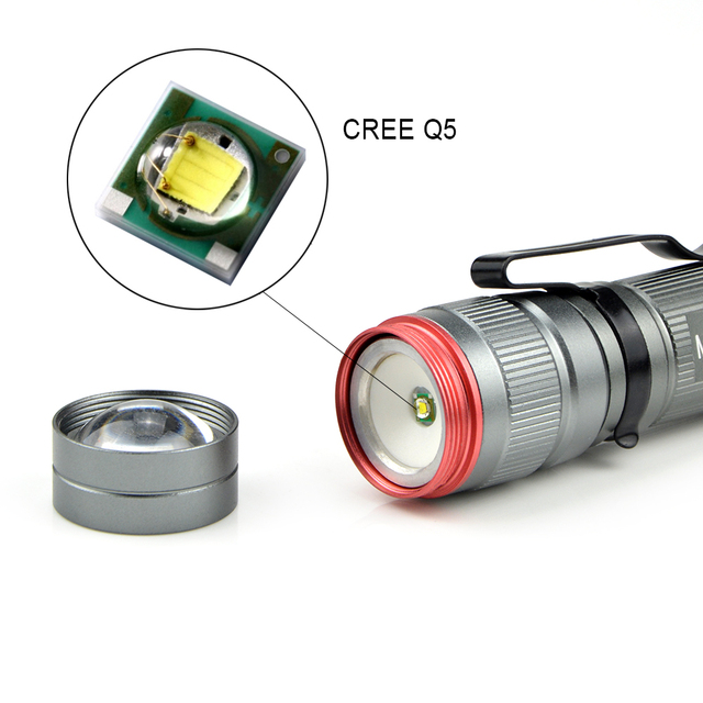 1Pcs Mini 800LM Portable Lanterna CREE Q5 LED Flashlight Waterproof Aluminum 3 Model Zoomable Torch light For outdoor lighting