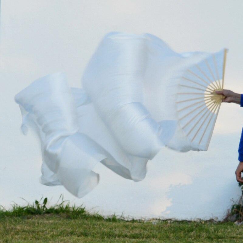 2016 High Selling 100% Real Silk Veils 1 Pair Handmade Women Quality Silk Belly Dance Fan Dance White 180*90 Cm