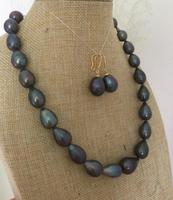 stunning14 15mm tahitian baroque black blue pearl necklace &earring