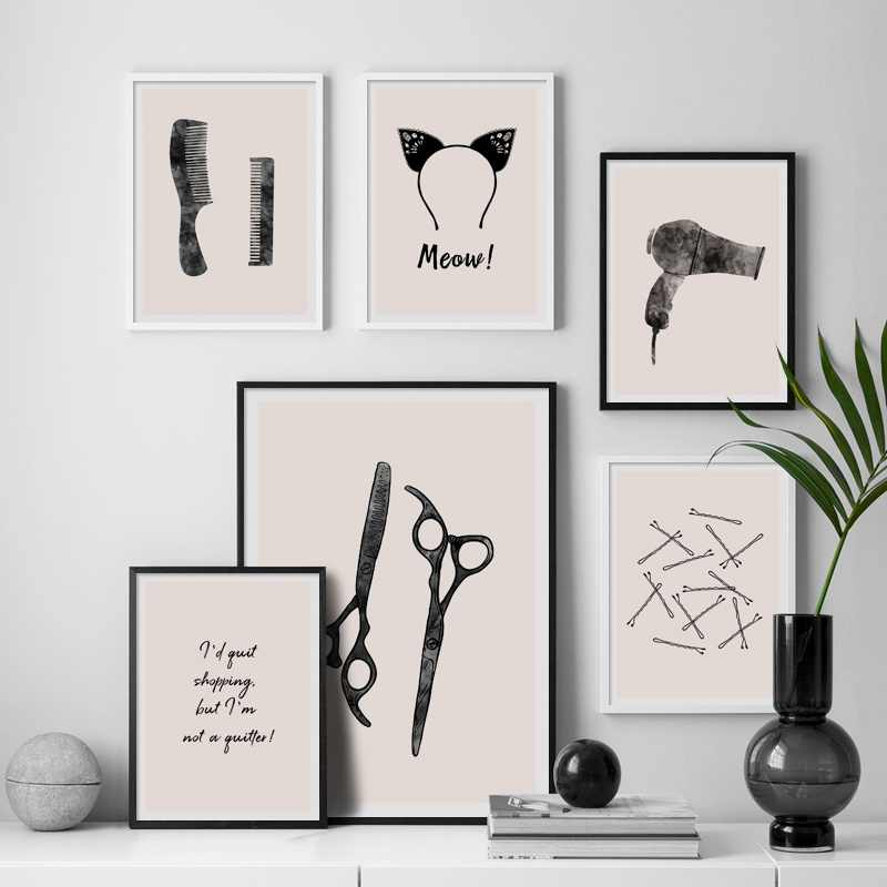 Cat Ears Hair Clip Dryer Scissors Comb Nordic Posters And Prints Wall Art Canvas Painting Wall Pictures For Living Room Salon