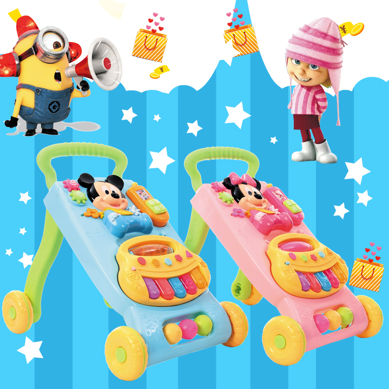 Baby Toddler trolley baby walking cart rollover Walker children's music toys for 7-18 months baby car rollover multifunctional music 6 7 18 months baby children learn driving