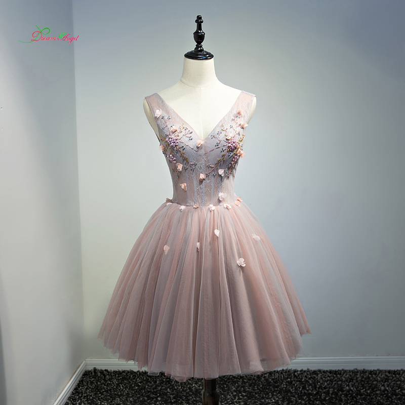 Fmogl Elegant V Neck Flowers Knee Length   Cocktail     Dresses   2019 Beading Pearls Special Occasion   Dress   Short   Dress   For Party