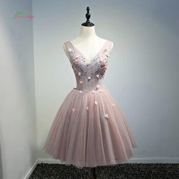 20a23a87a6 Fmogl elegante cuello en V flores de la longitud de la rodilla vestidos de  cóctel 2019 abalorios perlas ocasión especial Vestido corto vestido de  fiesta