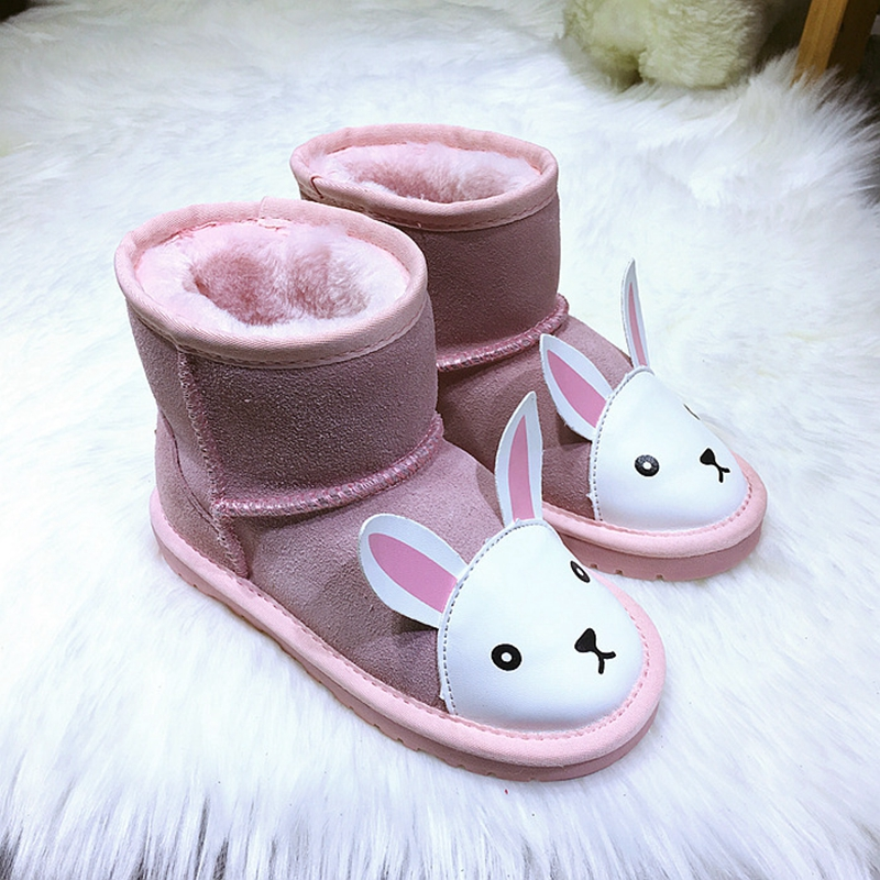 UNINICE New 2017 Winter Children Snow Boots Cartoon Kids Boys Girls Real Leather Warm Boots Baby Girl Non-slip Outwearing Shoes new winter children snow boots boys girls boots warm plush lining kids winter shoes