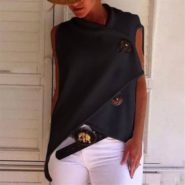 Women 39 s design with large buttons and irregular T shirt tops free shipping in T Shirts from Women 39 s Clothing