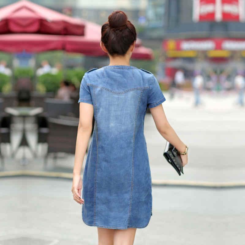 5XL джинсовое платье Женское Vestidos повседневное тонкое платье с коротким рукавом большой размер элегантный винтажное ТРАПЕЦИЕВИДНОЕ ПЛАТЬЕ для женщин одежда Q1115