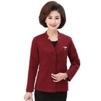 WAEOLSA Chinese Style Women Blazer Burgundy Caramel Jacket Suit Mature Woman Office Blazers Ladies Elegant Jackets