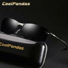 CoolPandas-gafas De Sol polarizadas HD para hombre y mujer, lentes De Sol masculinas antideslumbrantes, De marca De diseñador, De Metal, para conducir