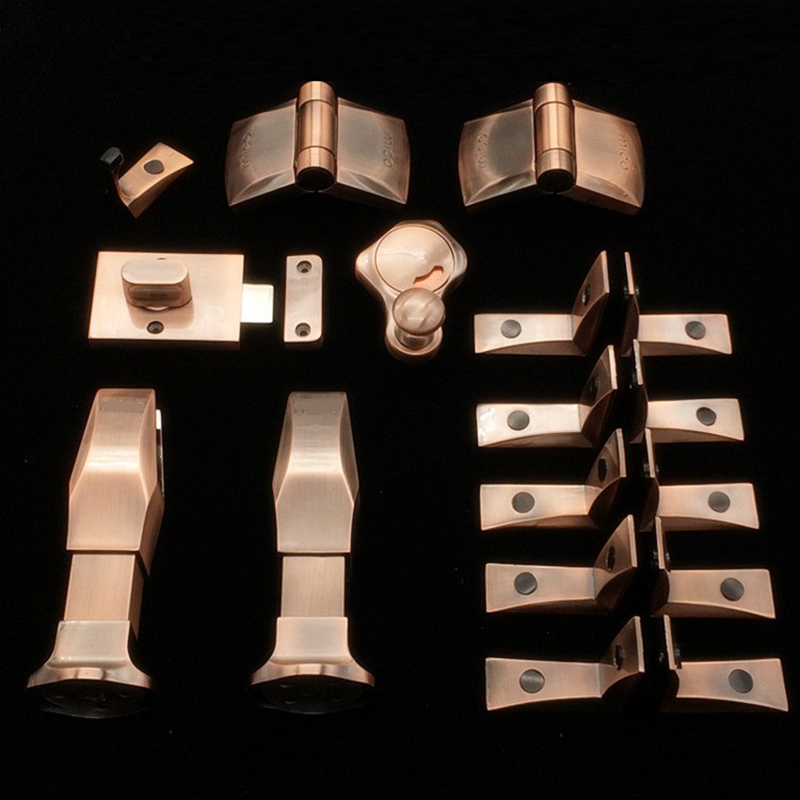 Red Bronze Public Restroom Toilet Partition Hardware fittings Set Latch Red Green Indicator