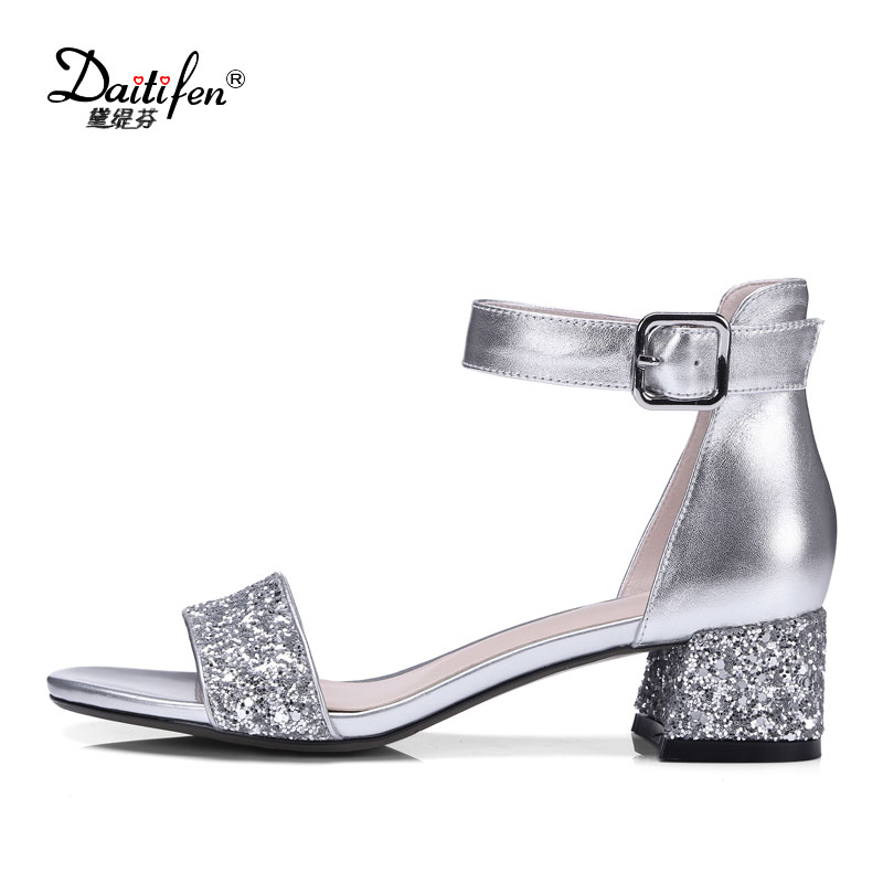 Daitifen Shiny Beauty Summer Sandals Women Peep Toe Med Heeled Shoes Ladies Ankle Strappy Heels Sandals Silver Plus Size 34-42 summer shoes fashion high heeled peep toe sandals women s party club pumps ladies dress shoes plus size 34 43