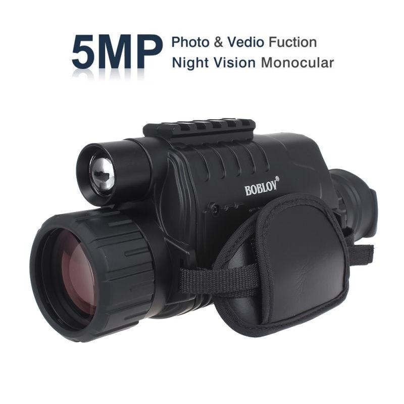 BOBLOV WG-37 Óculos de Visão Noturna Âmbito Monocular 200 m 5X40 Zoom RI  infravermelho Visão Noturna Registro DVR Livre 8 GB Cartão SD de Uma Bateria eb3bf7cb2e