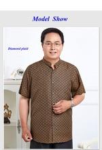 100% natural silk wateredgauze male short-sleeve shirt,pure silk gambiered Canton gauze standing collar casual tangsuit blouse