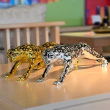 Pang-Q High quality animal resin Leopard statue home sculpture crafts ornaments decoration business gift gold silver color
