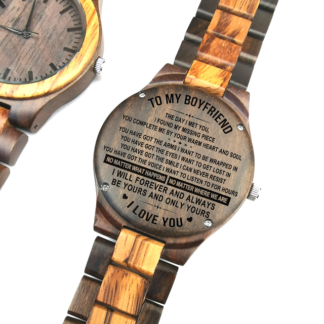 To My Boyfriend The Day I Met You I Found My Missing Piece ENGRAVED WOODEN WATCH 2