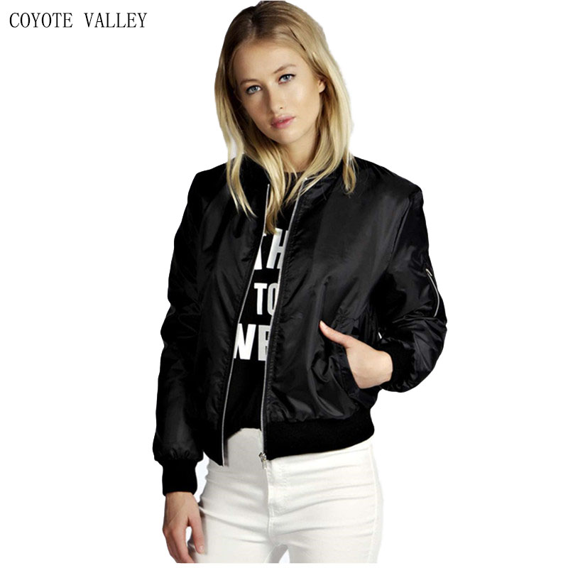 COYOTE VALLEY Hot style 2017 high quality new winter pure color zipper fashion coat jackets womens promotion bomber jacket