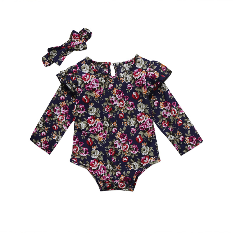 New Fashion Lovely Toddler Infant Baby Girl Clothes Outfit Floral Romper Jumpsuit Headband Clothes