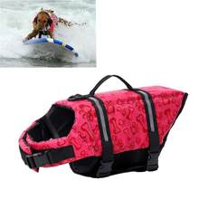 Dog Life Jacket Size Adjustable Dog Life Preserver Durable Life Vest Buoyant Lifesaver (Pink)(China)