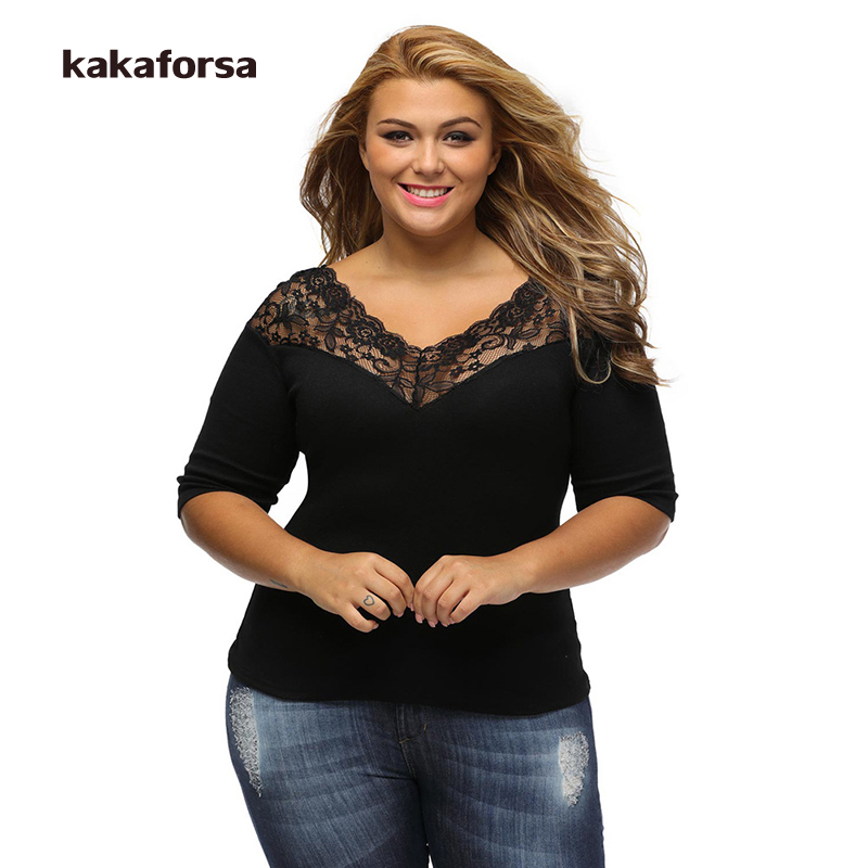 Kakaforsa Women Plus Size Lace Polyester T Shirt Female