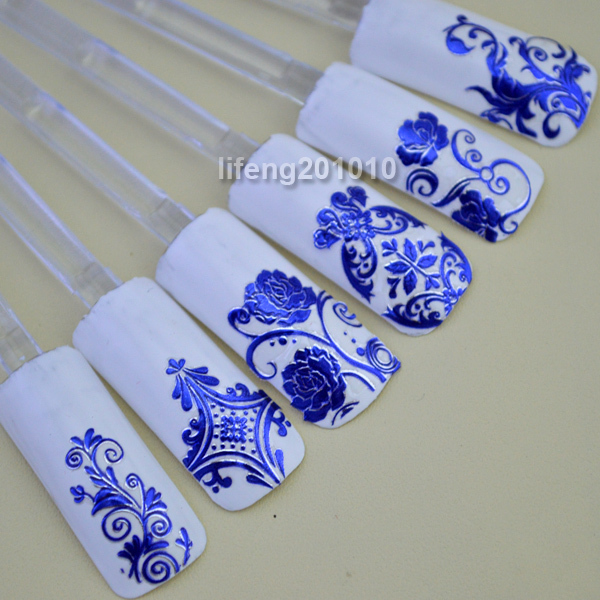 Wholesale 108 PCS High Quality 3d Blue Flower Nail Art Sticker Decals Decoration Tool N003 free shipping wholesale 108 pcs high quality 3d blue flower nail art sticker decals decoration tool n003 free shipping