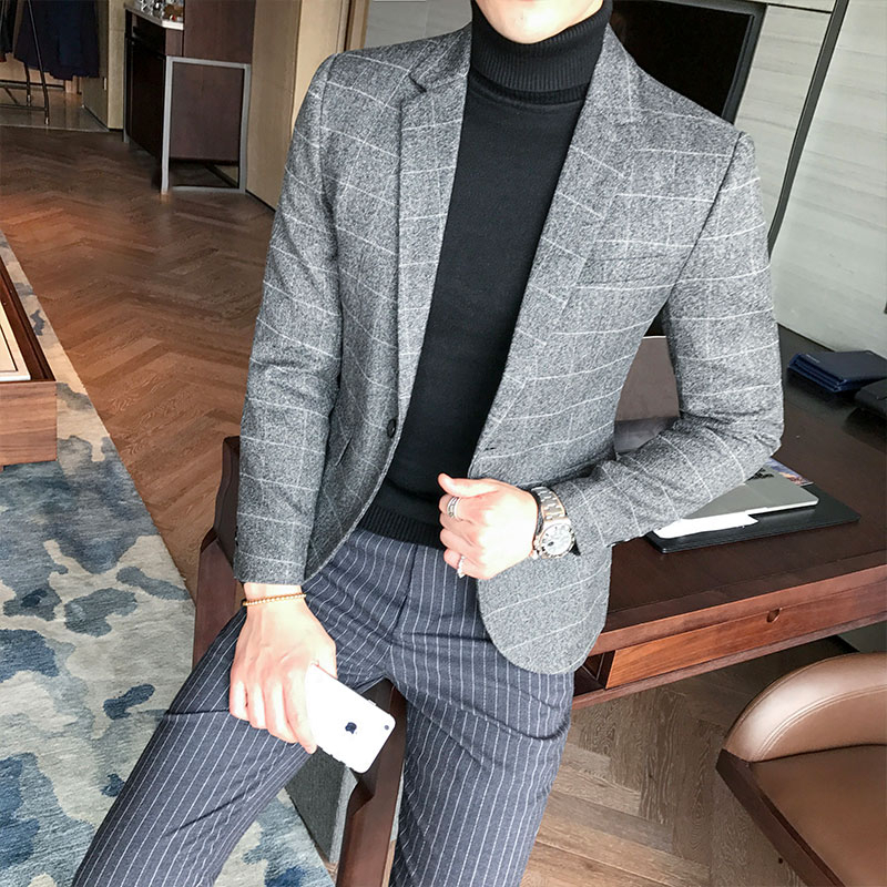 2019 Autumn Casual Men Blazer  British Style Business Slim Fit Woolen Suit Coat Long Sleeve Jackets Men Blazer Men Collections