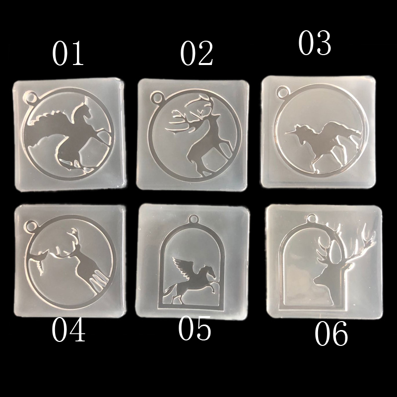 Silicone Mold For Jewelry Frame Animals Horse Unicorn Deer Pendant Resin Silicone Mould Handmade Epoxy Resin Molds