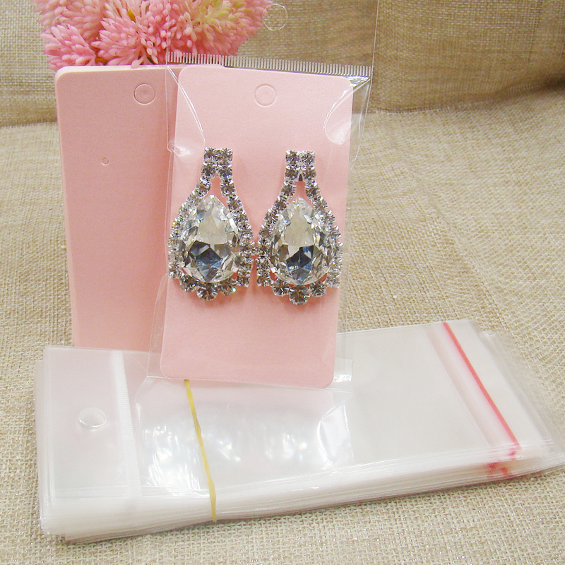 2017new Handmade Pearl Pink Cardboard Earring Package Cards100pcs +100pcs Opp Bag Matching For Jewelry Products Display Package