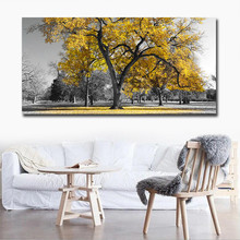 Poster Canvas Printing,Printed Giclee Prints,Modern Yellow Tree 1 Piece Big Size Art,Drop shipping Painting