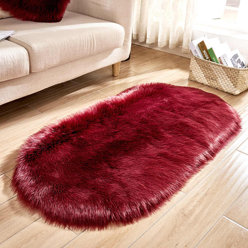 새로운 도착 화이트 플러시 카펫 모조 호주 양피 thicken 어린이 침실 담요 매트 bay window rug oval mat