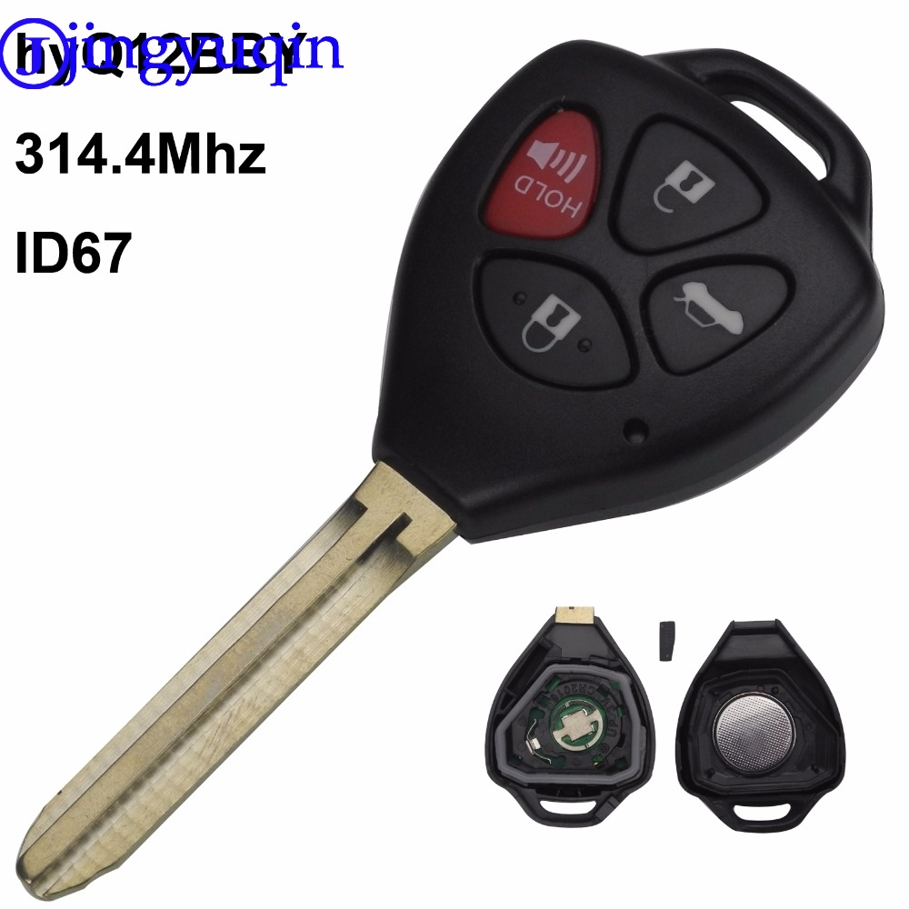 jingyuqin 4 Button Remote Key Fob ASK HyQ12BBY 314.4 Mhz with ID 67 Chip For Toyota Camry Avalon Corolla Matrix RAV4 Venza Yaris nicecnc fog light lamps with h11 bulbs for toyota avalon corolla camry highlander hybrid matrix prius sienna yaris solara rav4