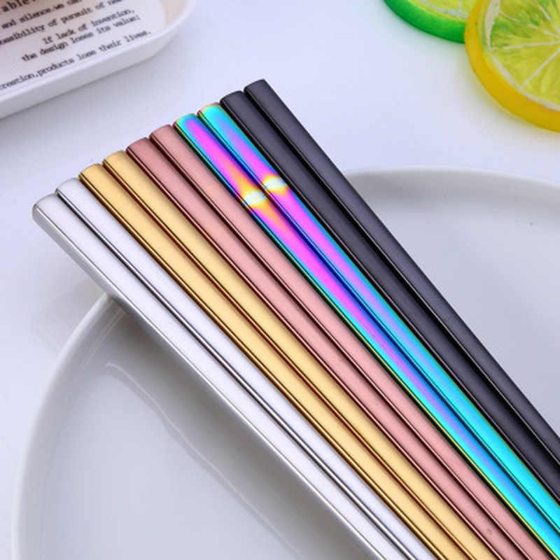 1 par de vajilla de acero inoxidable colorido longitud 23 cm reutilizable palillos vajilla de plata de hierro antideslizante de Metal para el hogar chino