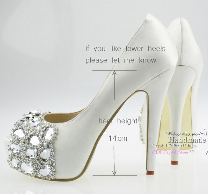 Lace Wedding Shoes Ivory Satin Peep Toe Shoes 5 Inches Heels