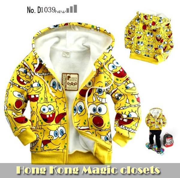 retail, Free shipping, The full printing sponge bob sweater(95-140),boy's girl's top shirts,Sweater,kid's cotton hoodie