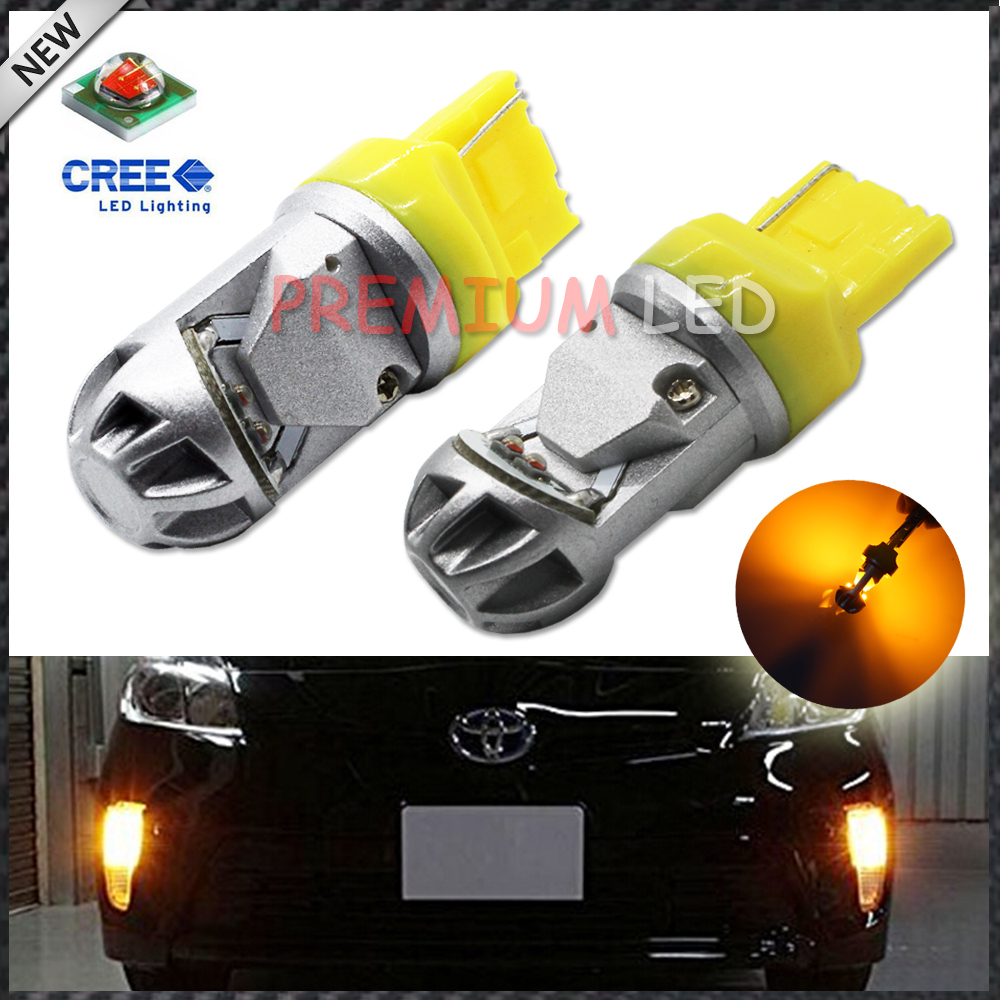 2pcs Amber Yellow High Power CRE'E 7440 992 7440A LED Bulbs for Front Rear Turn Signal Tail lights,Daytime Running DRL Lights ijdm amber yellow error free bau15s 7507 py21w 1156py xbd led bulbs for front turn signal lights bau15s led 12v