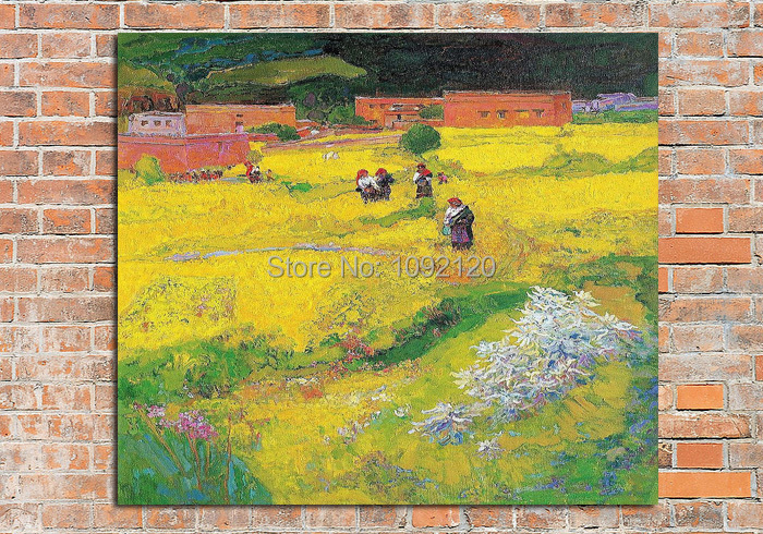 Hot Sell Product The Golden Season Impressionist Canvas Oil Painting Hand Painted Landscape Decoration For Living Room 60x60cm