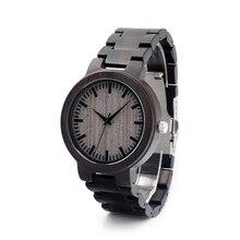 Diseño de Marca C30 BoboBird Ebony Madera Reloj Japón 2035 Moven no Mens Relojes de Cuarzo para Hombres Mujeres con Banda De Madera Relogio