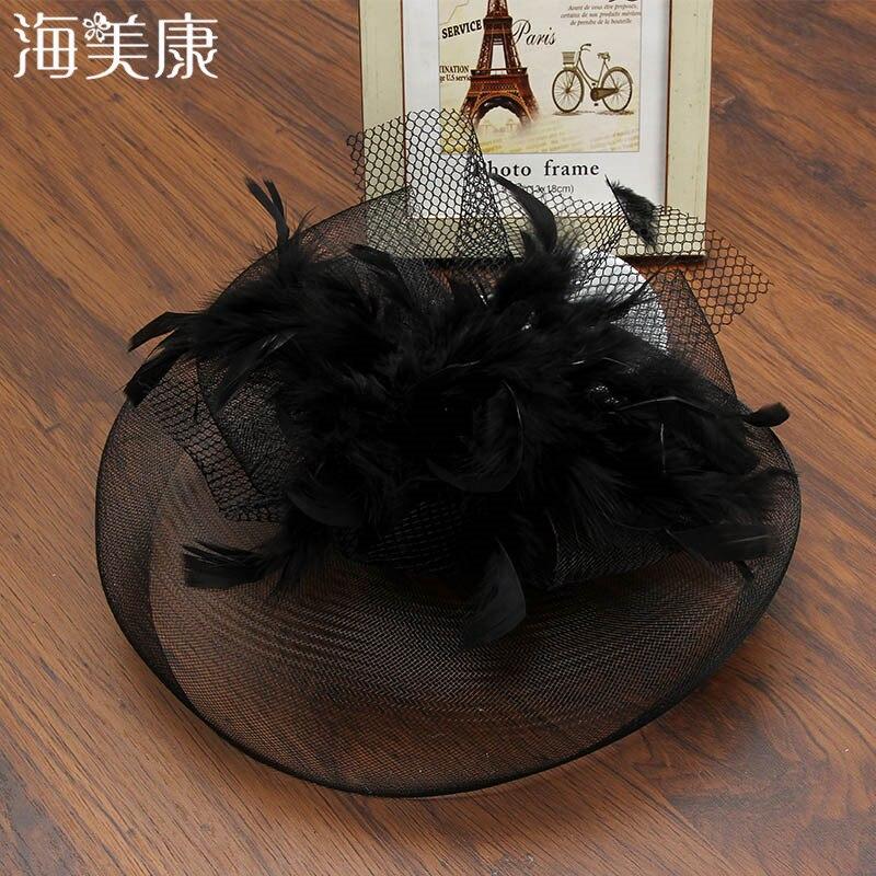 Haimeikang Vintage Hat Hairpain Women Feather Bridal Hair Accessories Cocktail Wedding Party Church   Headwear   Chic Fascinator