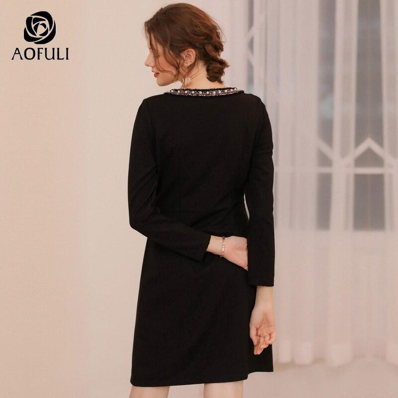 AOFULI łuk kształtki z długim rękawem Slim sukienka na zimę kobiet Plus Size wysokiej talii sukienki na imprezę L czarny  XXXL 4XL 5XL A3741 w Suknie od Odzież damska na  Grupa 3